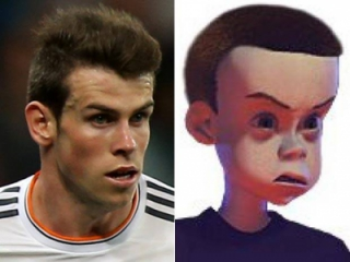 Gareth Bale e Sid Phillips, personagem de Toy Story