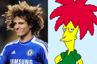 David Luiz e Sideshow Bob, personagem de Os Simpsons
