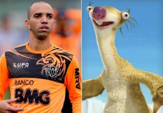 Diego Tardelli e Sid, personagem de 'A Era do Gelo'