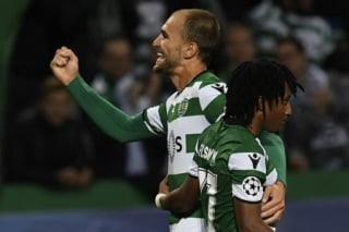 Bas Dost e Gelson Martins - Sporting x Olympiacos
