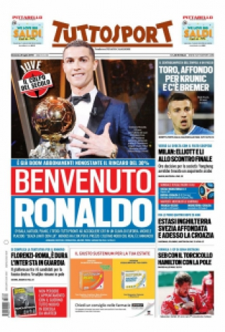 Capa do 'TuttoSport' dá as boas vindas a Cristiano Ronaldo