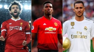Montagem - Salah (Liverpool), Pogba (Manchester United) e Hazard (Real Madrid),