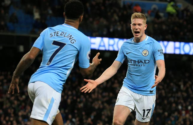 Sterling e De Bruyne - Manchester City x West Bromwich