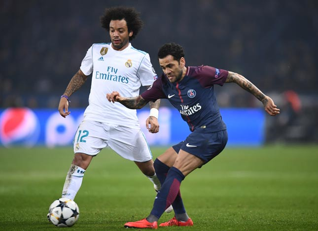 Marcelo e Daniel Alves - PSG x Real Madrid