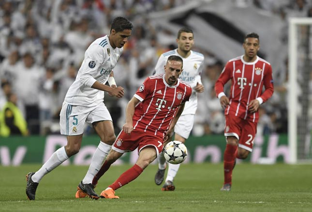 Varane e Ribéry - Real Madrid x Bayern de Munique