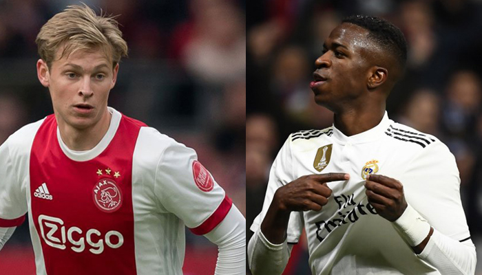 Ajax x Real Madrid - De Jong e Vinicius Jr
