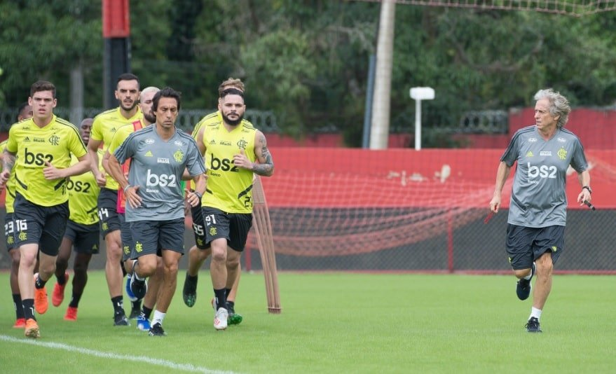 Jorge Jesus e elenco do Flamengo