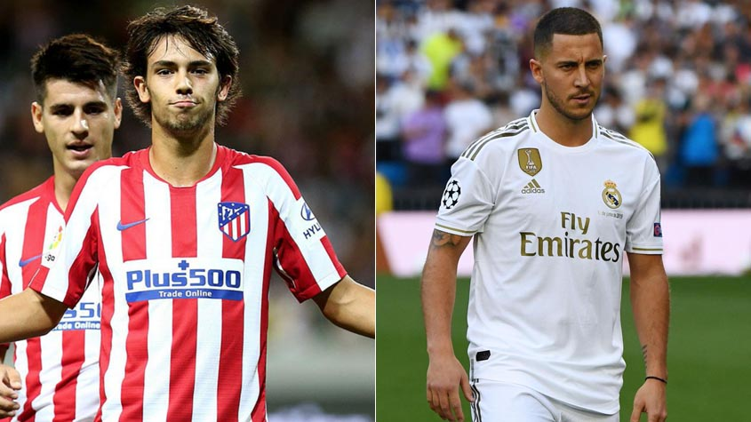 João Félix (Atlético de Madrid) e Hazard (Real Madrid)